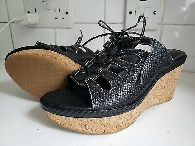 Rockport Womens Leather Blace Lace Up  Mules High Wedge Shoes Size Uk 5 Eu 38 • 19.99£