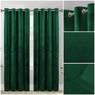 £43.99 • Buy Crushed Velvet Green Blackout Eyelet Curtains With Ring Top Fully Lined Tiebacks