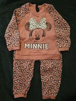 Baby Girl Animal Print Minnie Mouse Tracksuit Age 12-18 Months • 4.99£