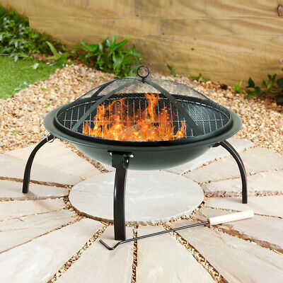 Black Fire Pit Folding Steel BBQ Camping Garden Patio Outdoor Heater Burner • 49.99£