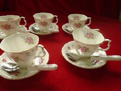Royal Albert TRANQUILITY  5 Tea Cups And Saucers+ Good Match Spoons • 41.99£