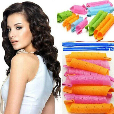 No Harm Spiral Rollers Magic Hair Curlers Waves Reusable Styling Tools With Hook • 8.78£
