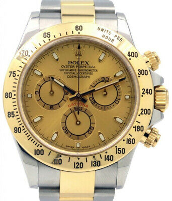 $ CDN18489.05 • Buy Rolex Daytona Chronograph 18k Yellow Gold & Steel Champagne Dial Watch F 116523
