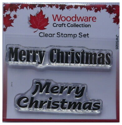 Woodware Clear Stamps  MERRY CHRISTMAS Set Of 2 • 2.35£