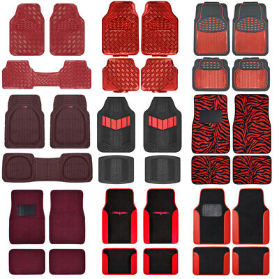 $38.90 • Buy Red All Weather Heavy Duty Universal Car Floor Mats For Auto Van Truck SUV