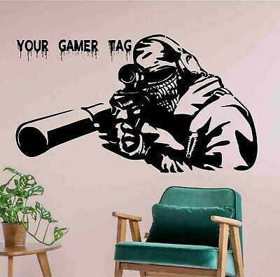 $ CDN40.58 • Buy Video Game Sniper Personalised Name Or GamerTag Vinyl Sticker Decal - Decor Wall