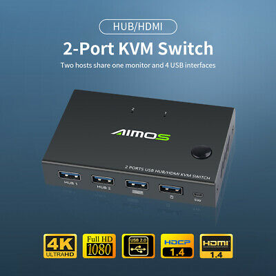 AU35.29 • Buy AIMOS AM-KVM201CC 2-Port HDMI KVM Switch Support 4K*2K@30Hz Switcher USB J0U7