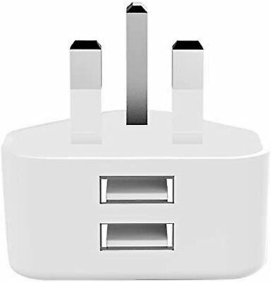 £4.99 • Buy 2.1A AMP Fast DUAL USB Charger UK Mains Wall Plug Adapter 3 Pin For USB DEVICES
