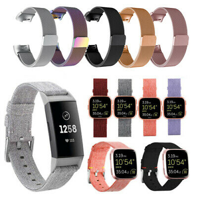 $ CDN10.11 • Buy For Fitbit Versa/For Fitbit Charge 3 Watch Band Strap Canvas Replacement