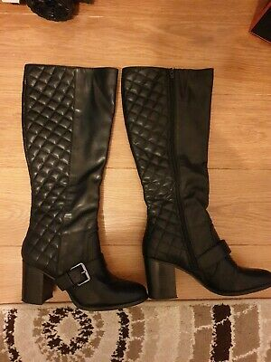 Red Herring Black Calf Knee Boots Size 5 • 8.99£