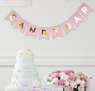 Candy Bar Bunting Banner Pink Gold Hanging Party Decoration Garland Wedding  • 3.99£