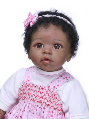 $ CDN107.37 • Buy 55cm Realistic Silicone Vinyl Reborn Baby Dolls 22  Newborn Cute Black Girl Doll