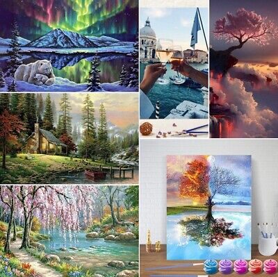 DIY Oil Painting Kit Paint By Numbers Acrylic Adult Children Beginners Frameless • 7.34£