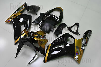 $479 • Buy New Gold Black Fairing Kit Fit For 2003-2004 ZX6R 636 ABS Injection Bodywork A37