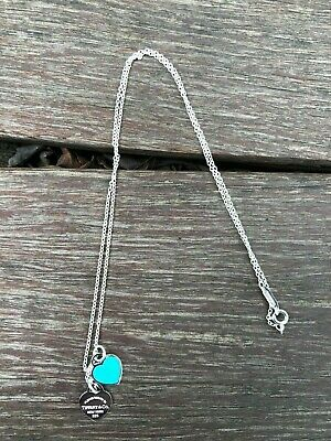 $81 • Buy Return To Tiffany&Co.Tiffany Blue Enamel Mini Double Heart Tag Silver Necklace