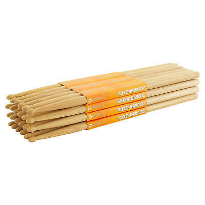 Hickory 5A Drumsticks By World Rhythm - Wood Tip 5A Drum Stick Brick - 12 Pairs • 52.42£