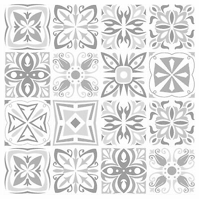 Mosaic Tile Stickers GREY Azulejo Talivera For 150mm X 150mm / 6 Inch Tiles G08 • 4.99£