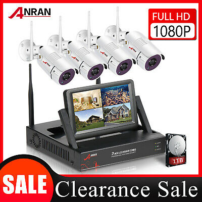 ANRAN 1080P CCTV Wireless Outdoor Security Camera System WIFI 1TB HDD 7  Monitor • 259.99£