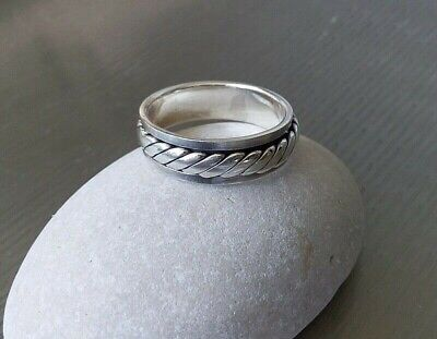 Men Women 925 Sterling Silver Plan Scrolls Spinning Worry Band  Ring Size 8.4  • 18.60£