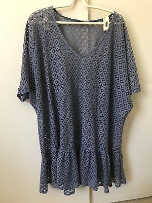 AU7.88 • Buy Oysho Crotchet See Though Dress SiZe M  10–12 Greyish Blue Ruffles