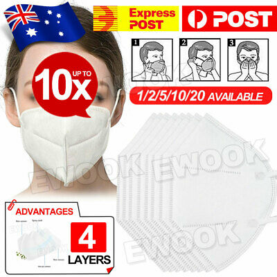 AU25.95 • Buy New Unisex Face Mask Mouth Masks 4 Layers IN AU STOCK