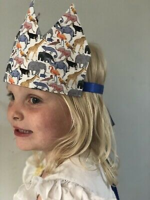 Liberty Print Zoo Birthday Crown Fabric  Party Hat (1-10 Years) • 9.99£