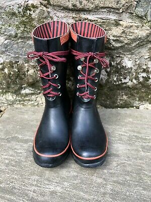 Hunter Lace-up Festival Short Wellies UK 6 Black/Red • 10£