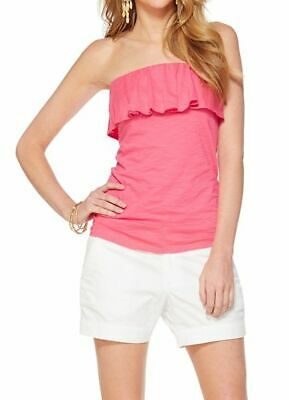 $17.99 • Buy $48 Lilly Pulitzer WILEY Ruffle Tube Top~PINK~ Strapless~Pima Cotton~Women LARGE