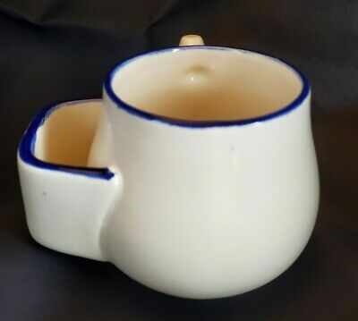 Antique Shaving Cup Coal Scuttle Mug With Handle Cream Color With Blue Trim • 19.33£