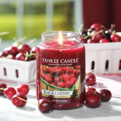 Yankee Candle Large Jar Scented 623gr Black Cherry • 15.99£