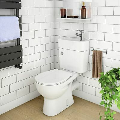 2 In 1 Compact Combo Basin And Close Couple Toilet And Seat  Set Space Saver • 179.99£