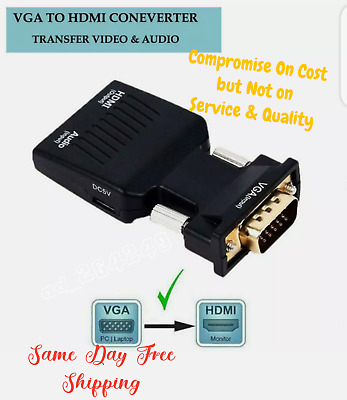 VGA INPUT To HDMI OUTPUT Video Audio Converter Cable Adapter 1080 For TV PC DVD • 6.35£