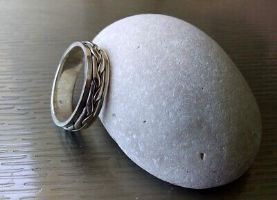 Men Women 925 Sterling Silver Plan Scrolls Spinning Worry Band  Ring Size 9.4. • 22.90£