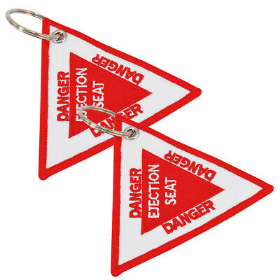 2 X TRIANGLE EJECTOR SEAT DANGER  - Key Chain Ring Military Luggage Tag Fabric  • 5.89£