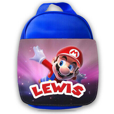 Personalised Mario Kids Blue Lunch Bag Any Name Childrens School Snack Box 3 • 14.95£