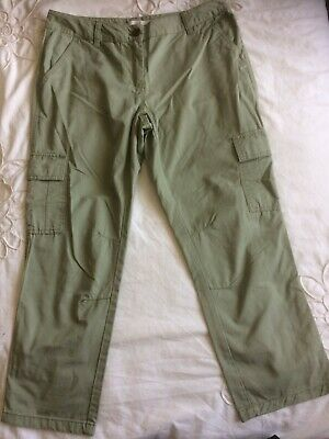 NEXT Khaki Cropped Cargo 3/4 Trousers Size 8 Khaki Cotton Straight Fitted Leg • 2.99£