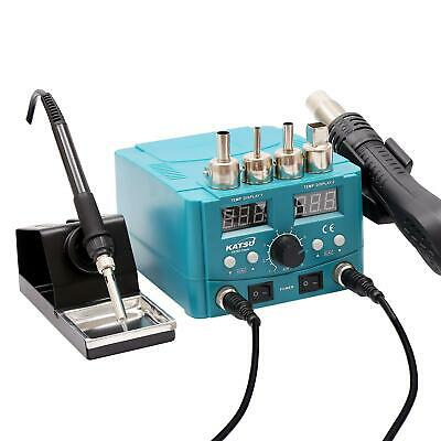 312080 2 In 1 Electric Digital Display Heating Gun Soldering Iron Station ESD • 53.99£