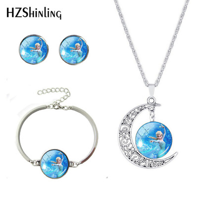 Moon Disney Princess Necklace Girls Silver Glass Hollow Crescent Birthday Gift • 5.99£