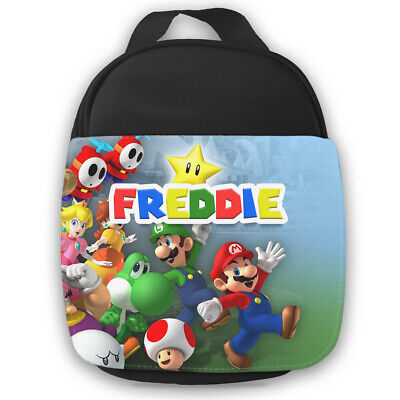 Personalised Mario Kids Black Lunch Bag Any Name Childrens School Snack Box 22 • 14.95£
