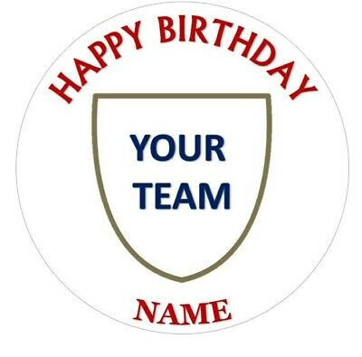 Football Team Style Round Or Square Cake Toppers Wafer Paper Or Icing Sheet • 4.99£