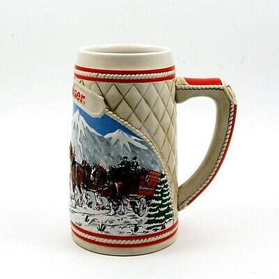 $ CDN39.09 • Buy 1985 Budweiser Beer Holiday Christmas Stein Mug Wagon Clydesdales Ceramarte