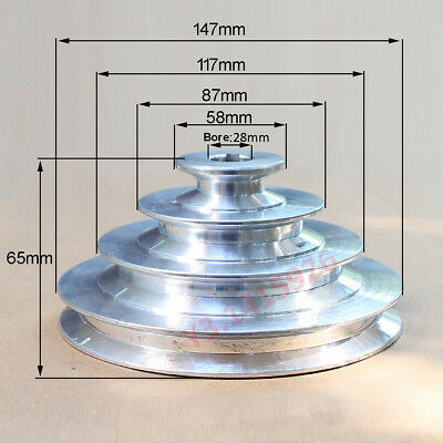 AU40.11 • Buy OD147mm 4 Step Pulley 28mm Bore For 1/2 =12.7mm Belt Width - Cast Aluminum