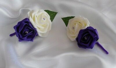 £8 • Buy Wedding Flowers  2 X Cadbury Purple & Ivory Rose Buttonholes / Corsage