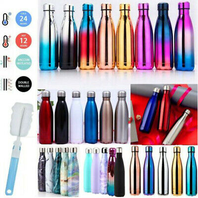 AU17.39 • Buy Stainless Steel Insulated Vacuum Water Bottle Thermos Flask Drink Hot Cold Cup