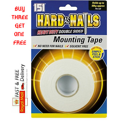 50-KG Hard As Nail Heavy Duty Double Sided Mounting Tape Solvent Free • 2.99£