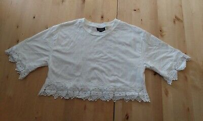 £5.50 • Buy White Tee Shirt Blouse Topshop Petite Size 10 Lace Details Cropped