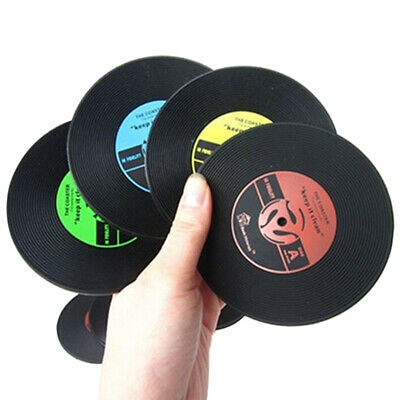 Retro Vinyl Record Rubber CD Coaster Table Coffee Drink Cup Mat Placemat • 2.85£