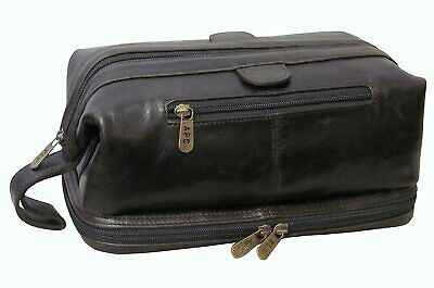 AU21.41 • Buy Amerileather Men's Leather Travel Cosmetic Toiletry Bag Dark Brown W/Accessories