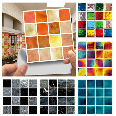 30pc Kitchen Tile Stickers Bathroom Mosaic Sticker Self-adhesive Wall Decor Home • 6.49£