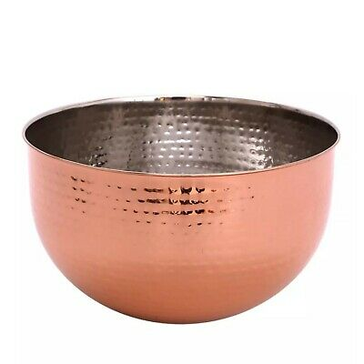 £13.99 • Buy Large Hammered Style Copper Bowl Rose Gold Copper Fruit Bowl Mixing Bowl